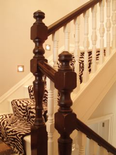 Banister, painted spindles