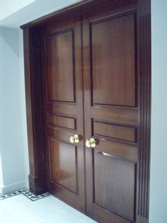 Mahogany double doors polished