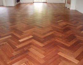 Herringbone oak floor sanded and polished