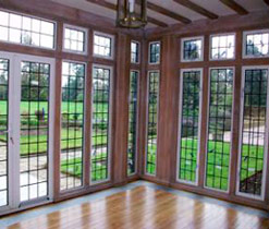 limed wooden beams and window frames