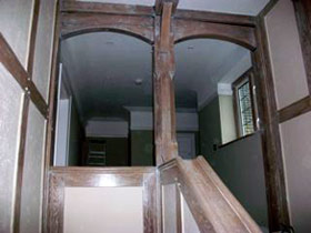 limed beams and staircase