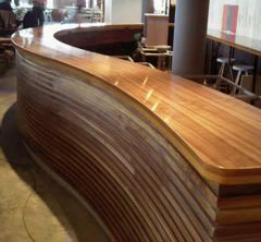 a beautiful wooden counter polished and protected